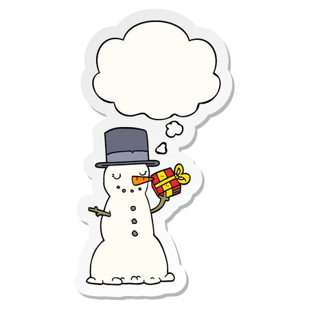 cartoon christmas snowman with thought bubble as a printed sticker