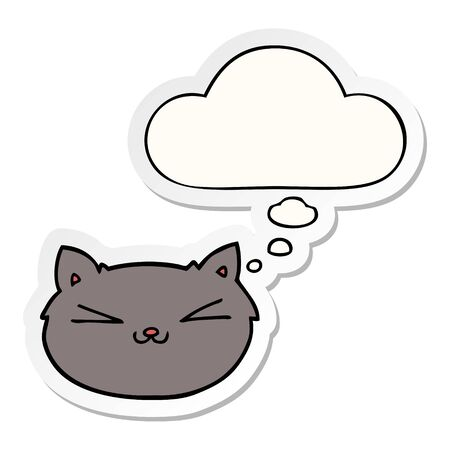happy cartoon cat with thought bubble as a printed sticker