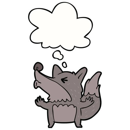 cartoon werewolf howling with thought bubble