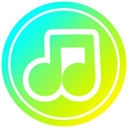 musical note circular icon with cool gradient finish