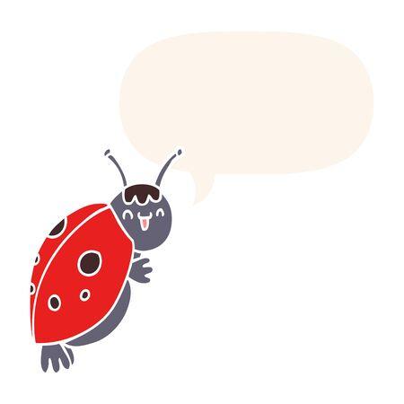 cute cartoon ladybug with speech bubble in retro style
