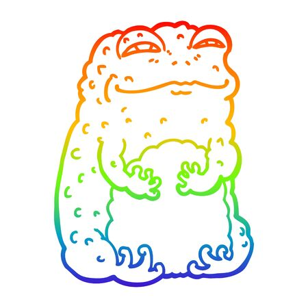 rainbow gradient line drawing of a cartoon smug toad  イラスト・ベクター素材