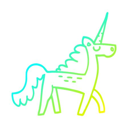 cold gradient line drawing of a cartoon mystical unicorn