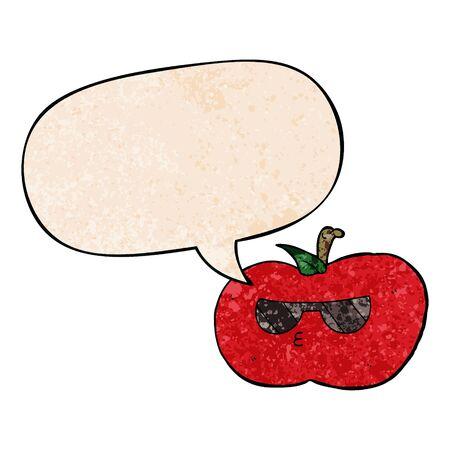 cartoon cool apple with speech bubble in retro texture style Ilustracja
