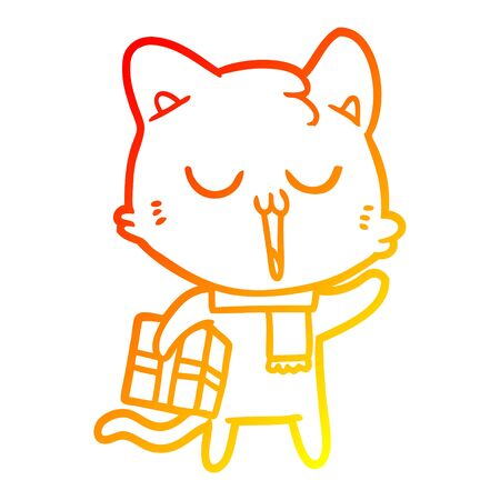 warm gradient line drawing of a cartoon cat with gift Illustration