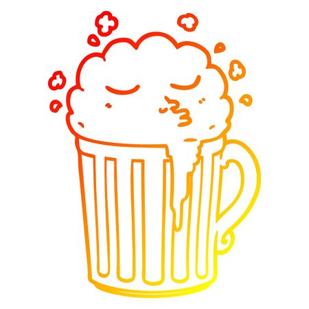 warm gradient line drawing of a cartoon mug of beer Illustration