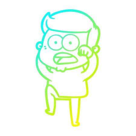 cold gradient line drawing of a cartoon shocked man Ilustração