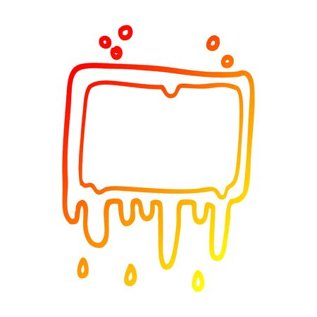 warm gradient line drawing of a cartoon dripping banner