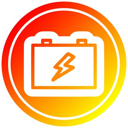 industrial battery icon with warm gradient finish