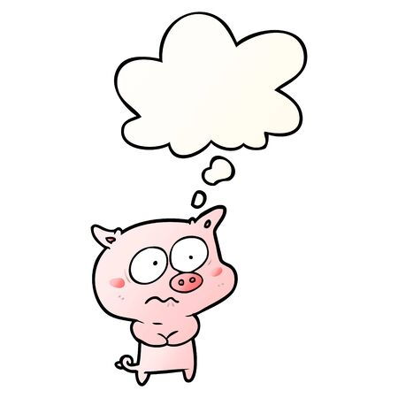 cartoon nervous pig with thought bubble in smooth gradient style