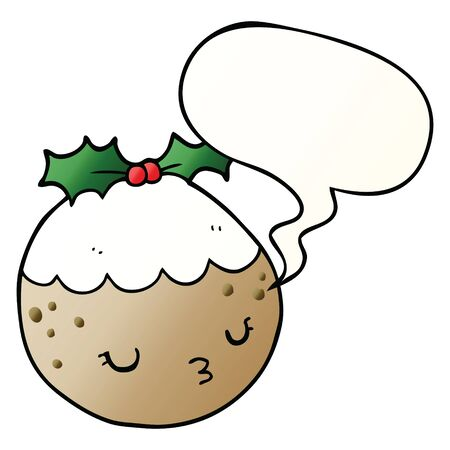 cute cartoon christmas pudding with speech bubble in smooth gradient style Ilustração