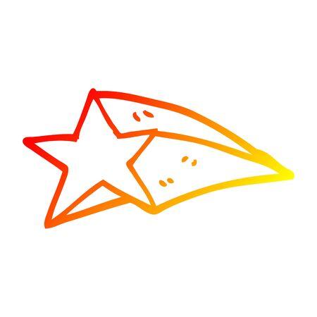 dessin au trait dégradé chaud d'une étoile filante de dessin animé