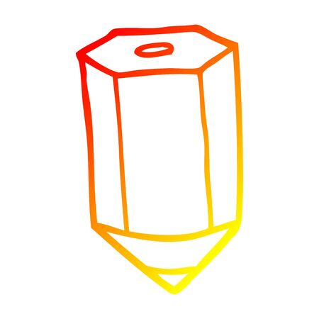 warm gradient line drawing of a cartoon colored pencil