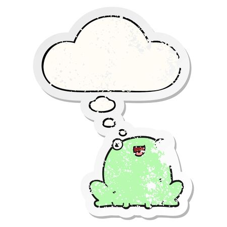 cartoon frog with thought bubble as a distressed worn sticker Banque d'images - 128197859