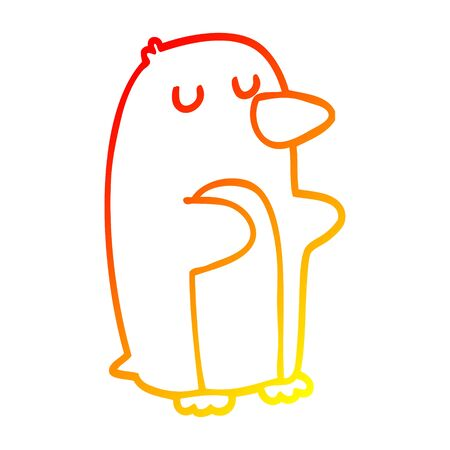 warm gradient line drawing of a cartoon penguin Stok Fotoğraf - 128197895