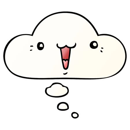 cute cartoon face with thought bubble in smooth gradient style