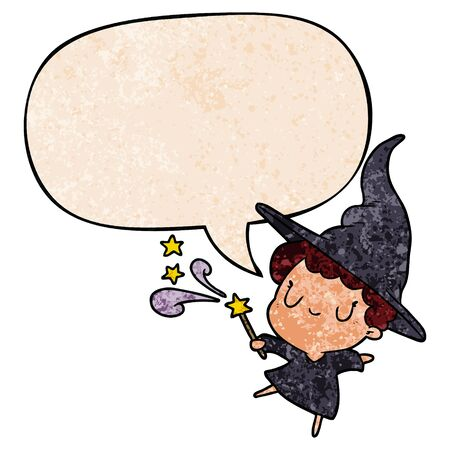 cute cartoon witch casting spell with speech bubble in retro texture style 向量圖像