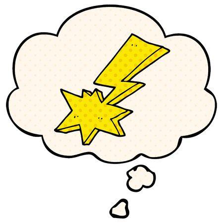 cartoon lightning bolt with thought bubble in comic book style Ilustração