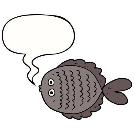 cartoon flat fish with speech bubble