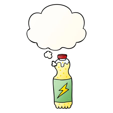 cartoon soda bottle with thought bubble in smooth gradient style Ilustração