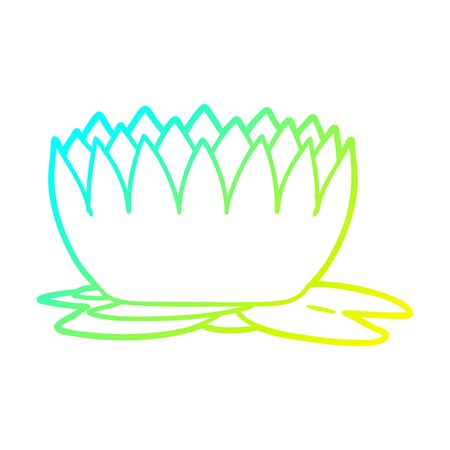 cold gradient line drawing of a cartoon waterlily