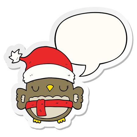 cute christmas owl with speech bubble sticker 向量圖像