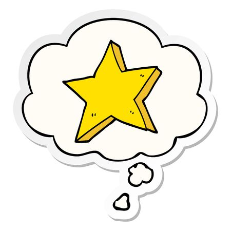 cartoon star with thought bubble as a printed sticker Ilustracja