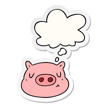 cartoon pig face with thought bubble as a printed sticker