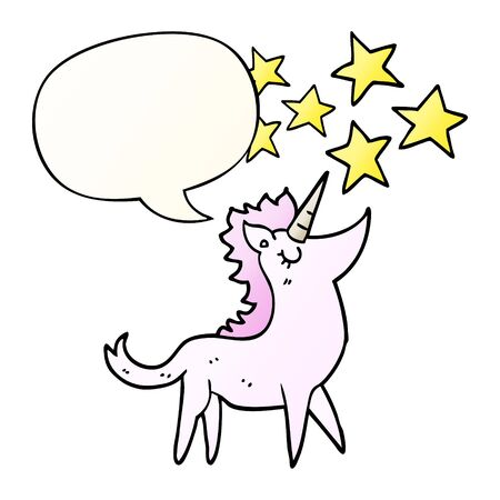 cartoon unicorn with speech bubble in smooth gradient style