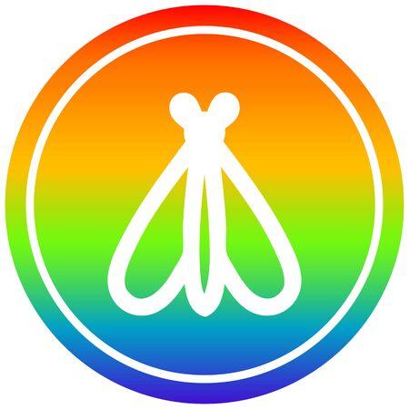 icono circular de insecto volador con acabado degradado de arco iris