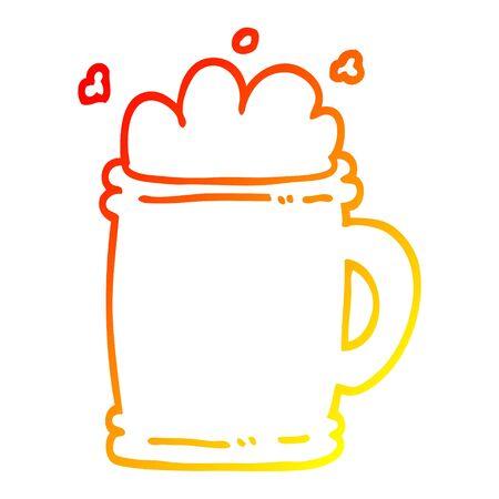 warm gradient line drawing of a cartoon beer tankard 向量圖像