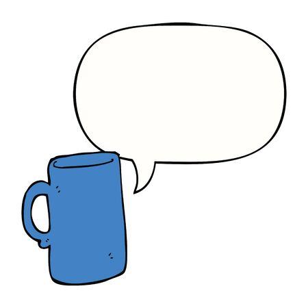 cartoon mug with speech bubble Иллюстрация