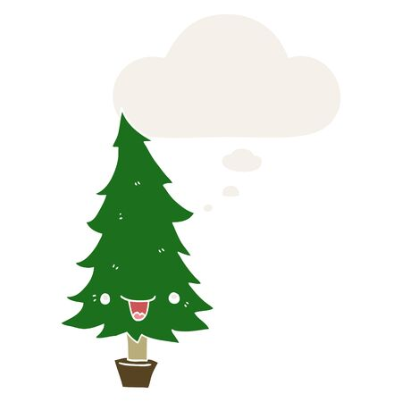cute cartoon christmas tree with thought bubble in retro style