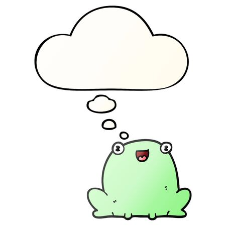 cartoon frog with thought bubble in smooth gradient style Banco de Imagens - 128271302