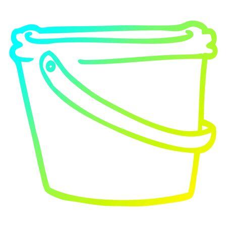 cold gradient line drawing of a cartoon bucket Ilustração