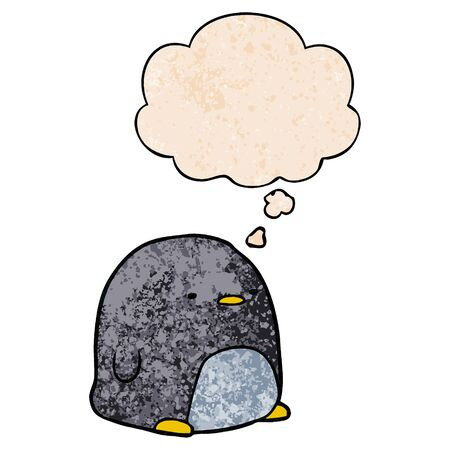 cute cartoon penguin with thought bubble in grunge texture style