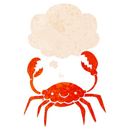 cartoon crab with thought bubble in grunge distressed retro textured style  イラスト・ベクター素材