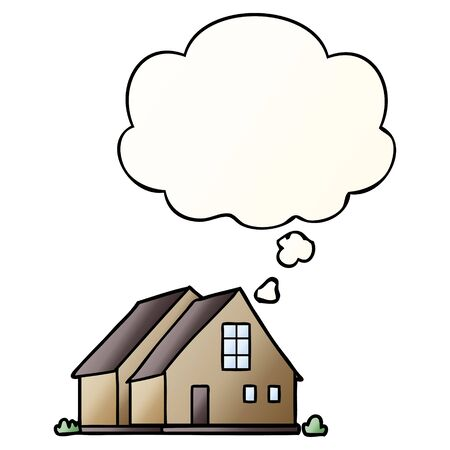 cartoon house with thought bubble in smooth gradient style Illustration