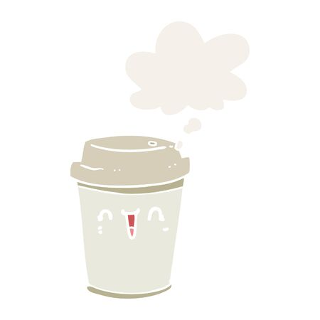 cartoon take out coffee with thought bubble in retro style Illustration