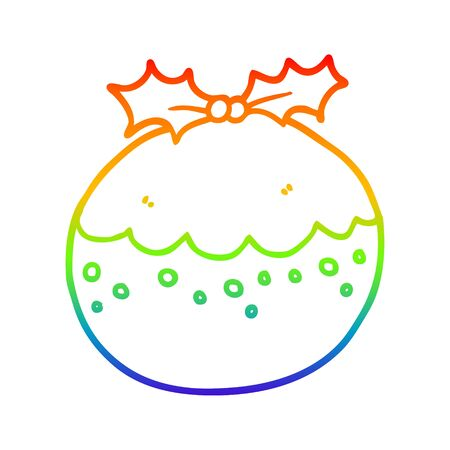 rainbow gradient line drawing of a cartoon christmas pudding