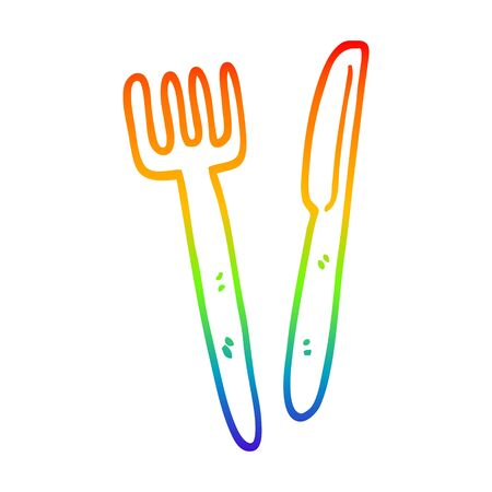 rainbow gradient line drawing of a cartoon knife and fork  イラスト・ベクター素材