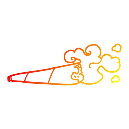 warm gradient line drawing of a cartoon rolled cigarette