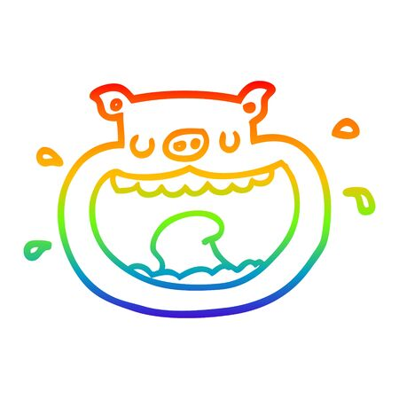 rainbow gradient line drawing of a cartoon obnoxious pig
