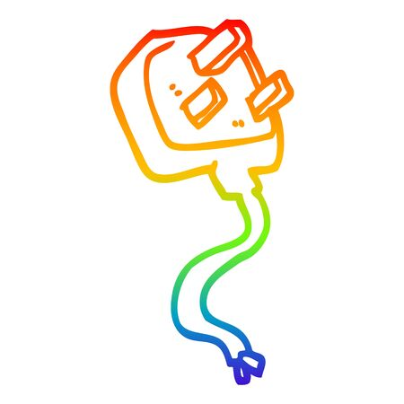 rainbow gradient line drawing of a cartoon british plug