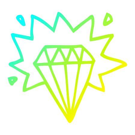 cold gradient line drawing of a cartoon tattoo diamond Ilustração