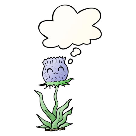 cartoon thistle with thought bubble in smooth gradient style Ilustração
