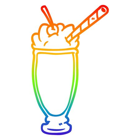 rainbow gradient line drawing of a milkshake