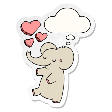 cartoon elephant with love hearts with thought bubble as a printed sticker