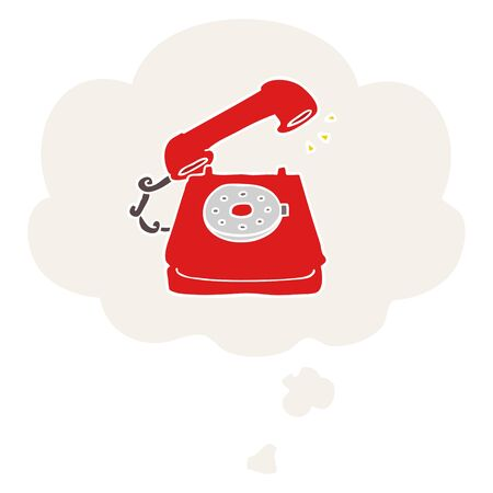 cartoon old telephone with thought bubble in retro style