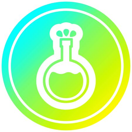science experiment circular icon with cool gradient finish Иллюстрация